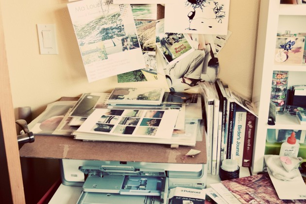 printer number one piled with photos and my inspiration board above