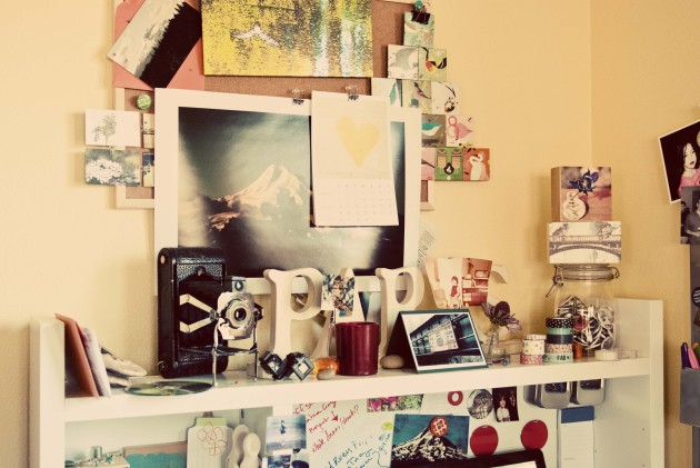 inspiration board number 2 with a few of my photos and blocks plus other knickknacks